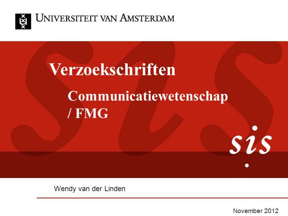 Verzoekschriften Communicatiewetenschap / FMG Wendy van der Linden