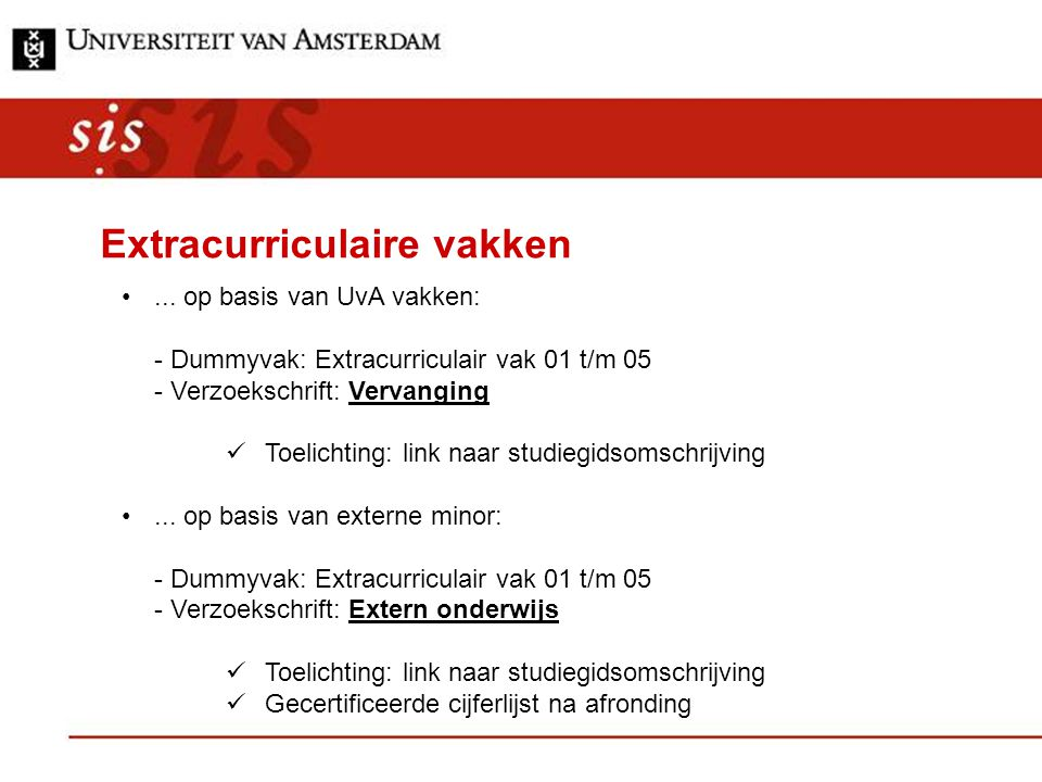 Extracurriculaire vakken