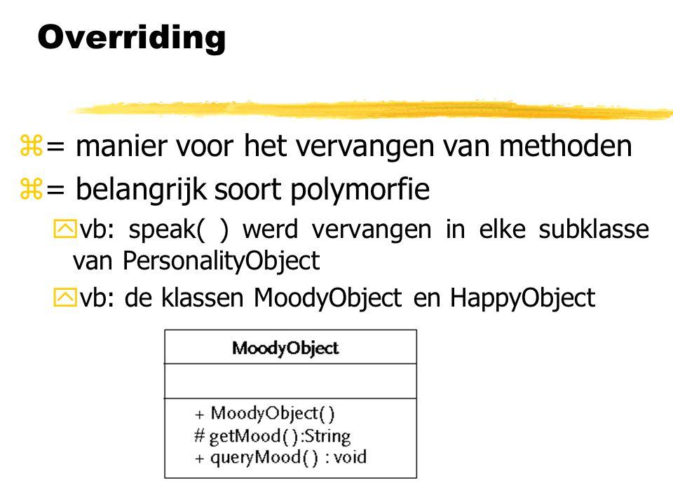 Overriding = manier voor het vervangen van methoden