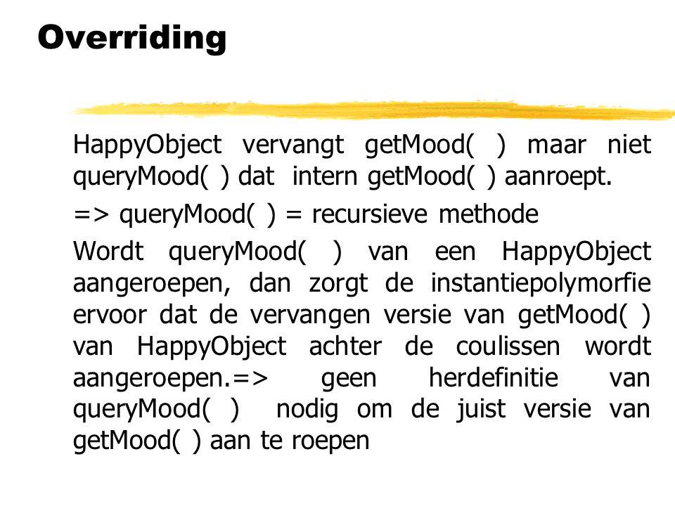 Overriding HappyObject vervangt getMood( ) maar niet queryMood( ) dat intern getMood( ) aanroept. => queryMood( ) = recursieve methode.