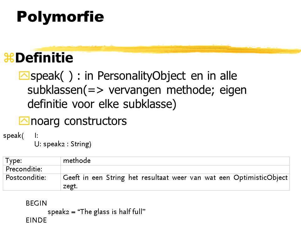 Polymorfie Definitie. speak( ) : in PersonalityObject en in alle subklassen(=> vervangen methode; eigen definitie voor elke subklasse)