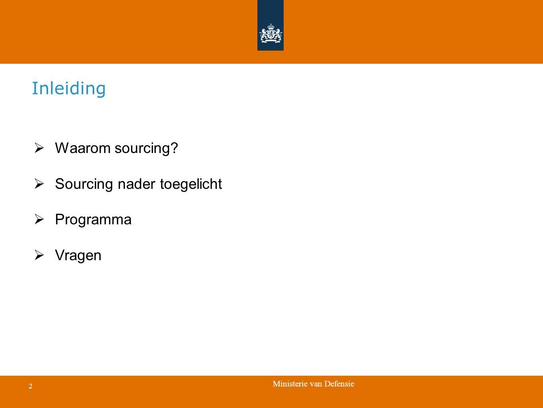 Inleiding Waarom sourcing Sourcing nader toegelicht Programma Vragen