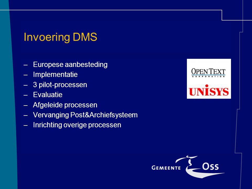 Invoering DMS Europese aanbesteding Implementatie 3 pilot-processen
