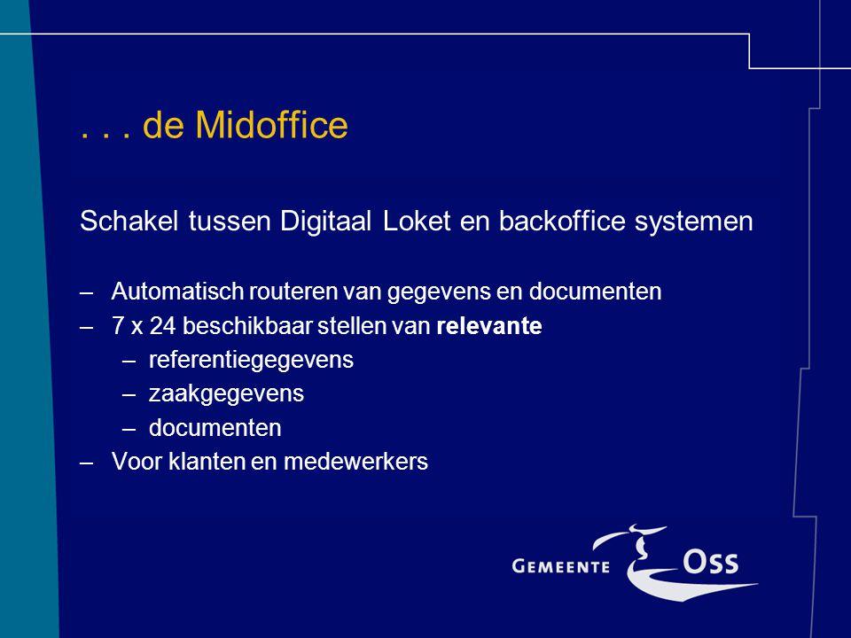 . . . de Midoffice Schakel tussen Digitaal Loket en backoffice systemen. Automatisch routeren van gegevens en documenten.