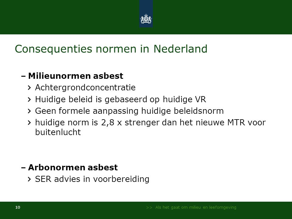 Consequenties normen in Nederland