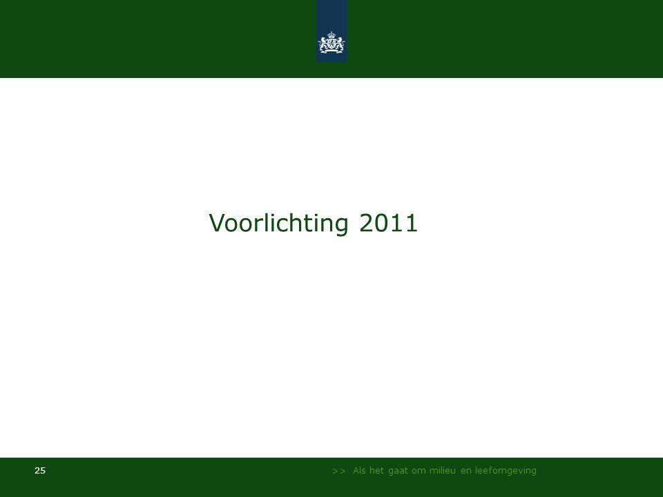Voorlichting 2011 >> Als het gaat om milieu en leefomgeving