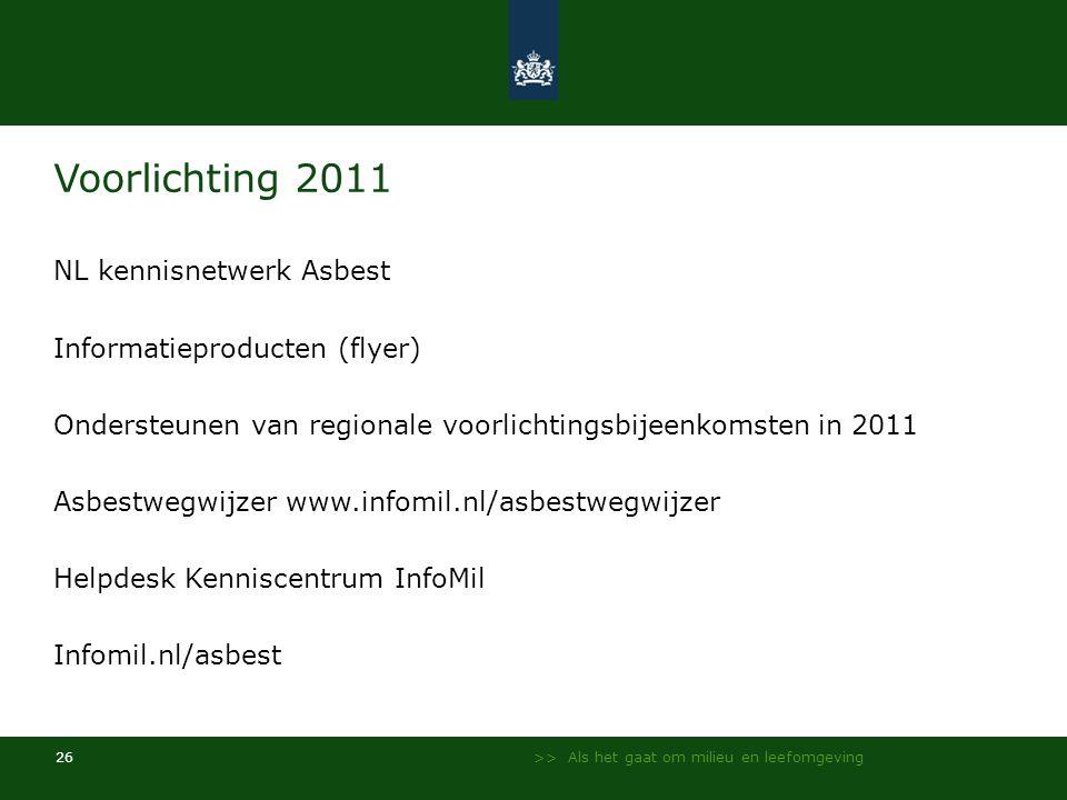 Voorlichting 2011 NL kennisnetwerk Asbest Informatieproducten (flyer)