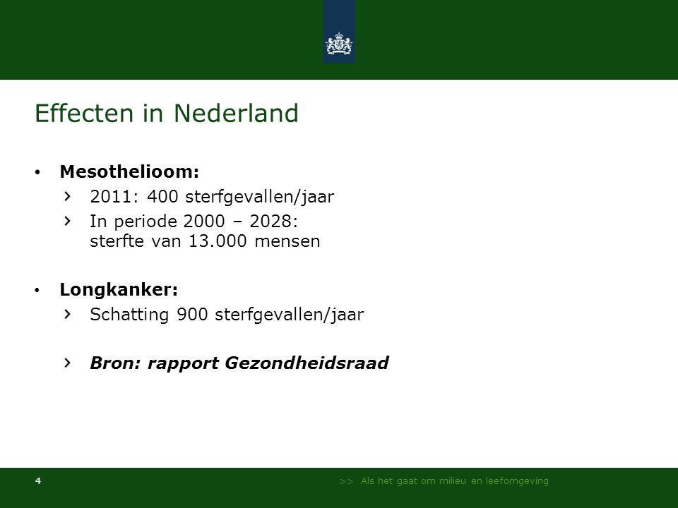 Effecten in Nederland Mesothelioom: 2011: 400 sterfgevallen/jaar