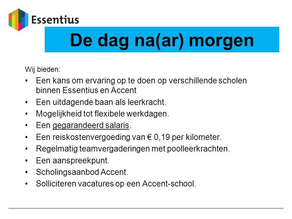 De dag na(ar) morgen Wij bieden: Een kans om ervaring op te doen op verschillende scholen binnen Essentius en Accent.