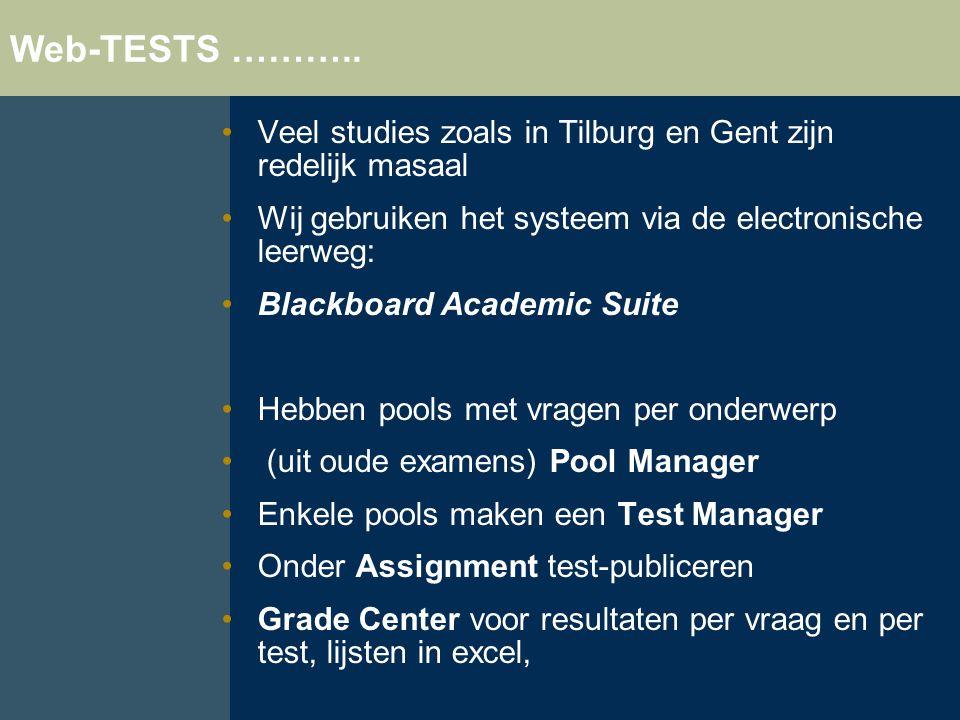 Web-TESTS ……….. Veel studies zoals in Tilburg en Gent zijn redelijk masaal. Wij gebruiken het systeem via de electronische leerweg: