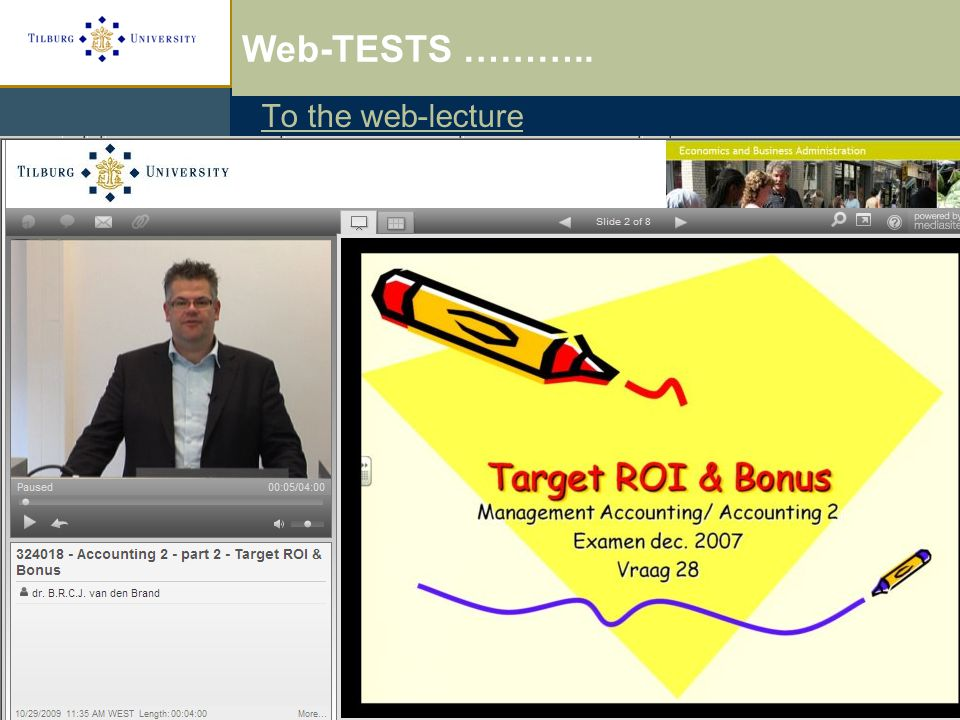 Web-lectures and Testing