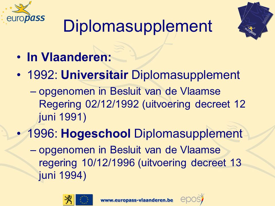 Diplomasupplement In Vlaanderen: 1992: Universitair Diplomasupplement