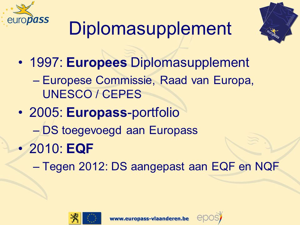 Diplomasupplement 1997: Europees Diplomasupplement