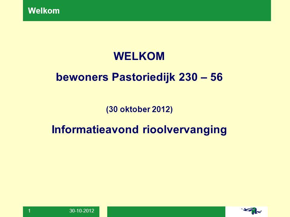 bewoners Pastoriedijk 230 – 56 Informatieavond rioolvervanging