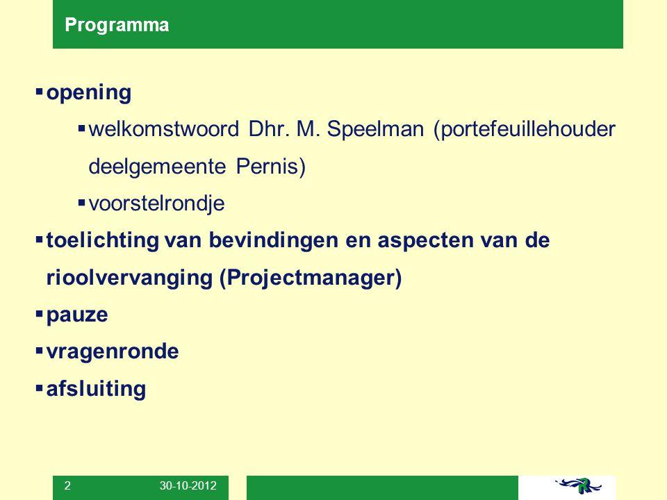 Programma opening. welkomstwoord Dhr. M. Speelman (portefeuillehouder deelgemeente Pernis) voorstelrondje.
