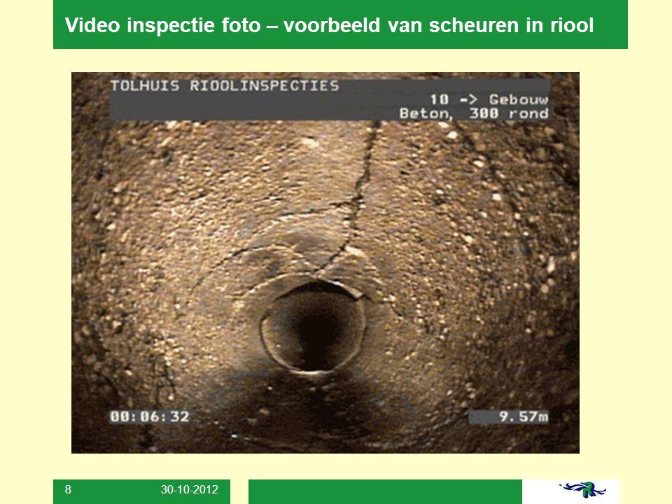 Video inspectie foto – voorbeeld van scheuren in riool