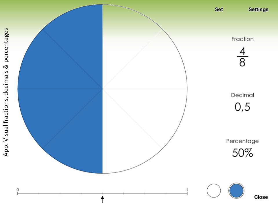 App: Visual fractions, decimals & percentages