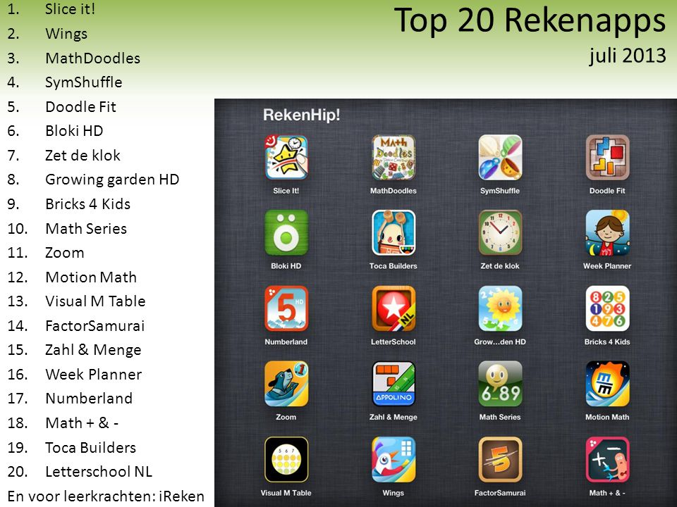 Top 20 Rekenapps juli 2013 Slice it! Wings MathDoodles SymShuffle