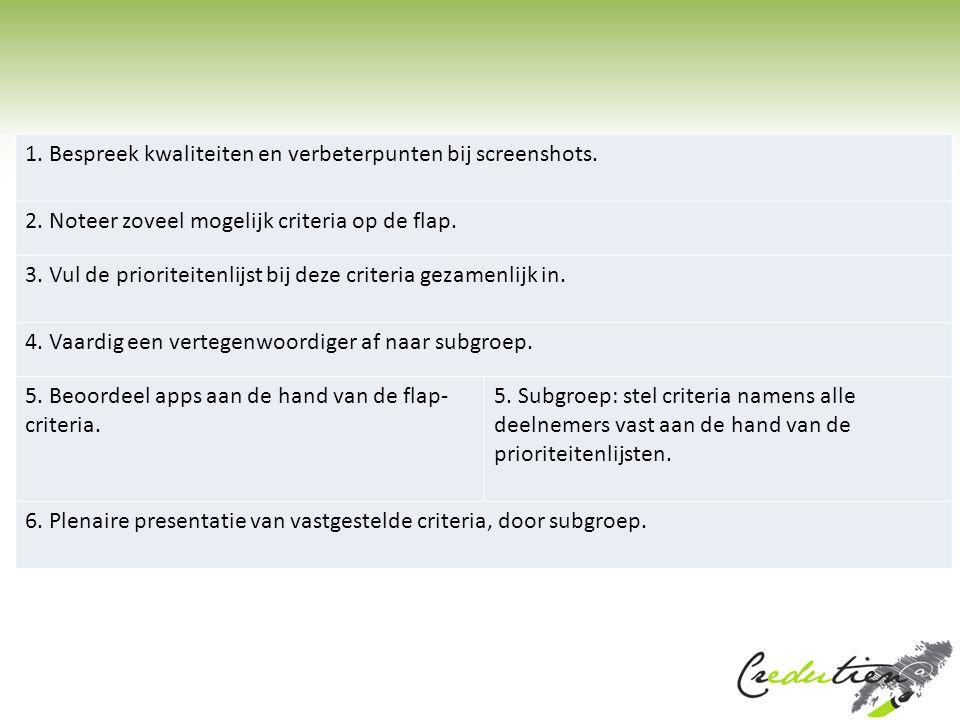 1. Bespreek kwaliteiten en verbeterpunten bij screenshots.
