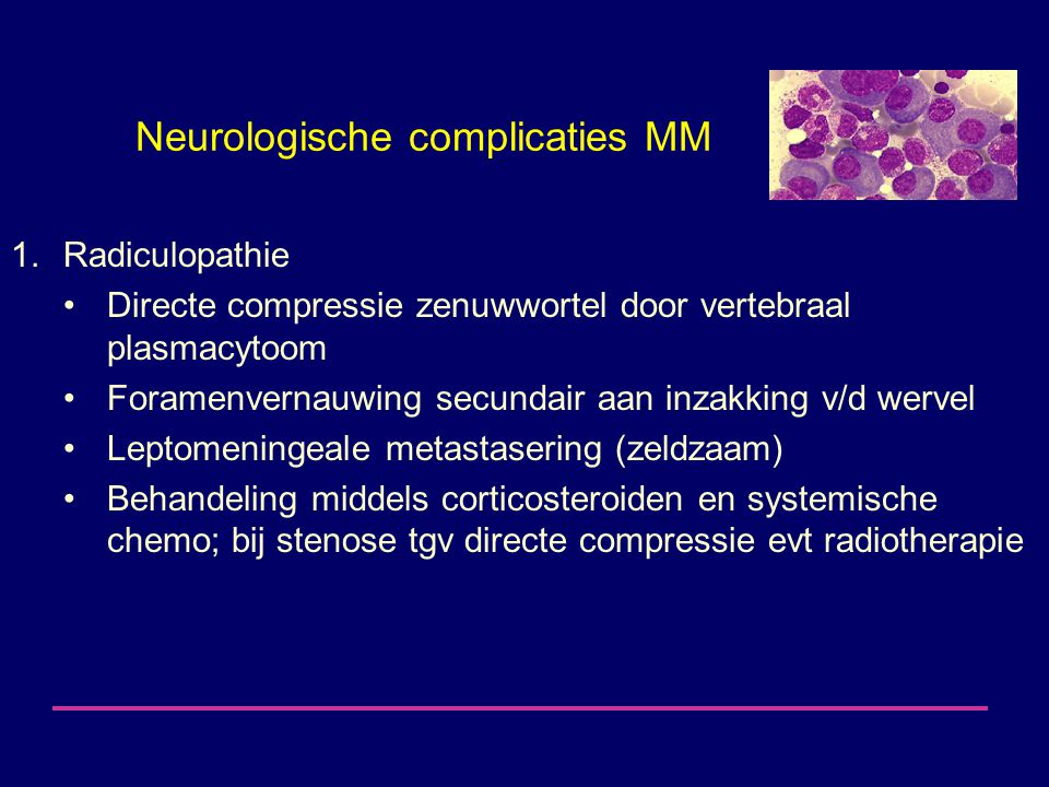 Neurologische complicaties MM