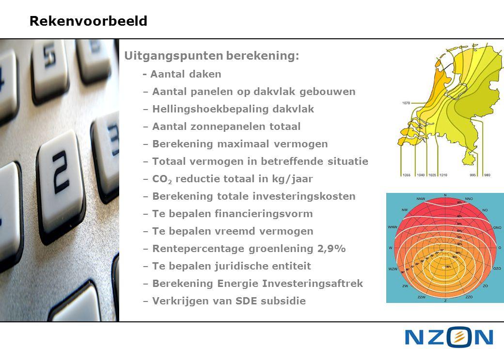 Rekenvoorbeeld Uitgangspunten berekening: - Aantal daken