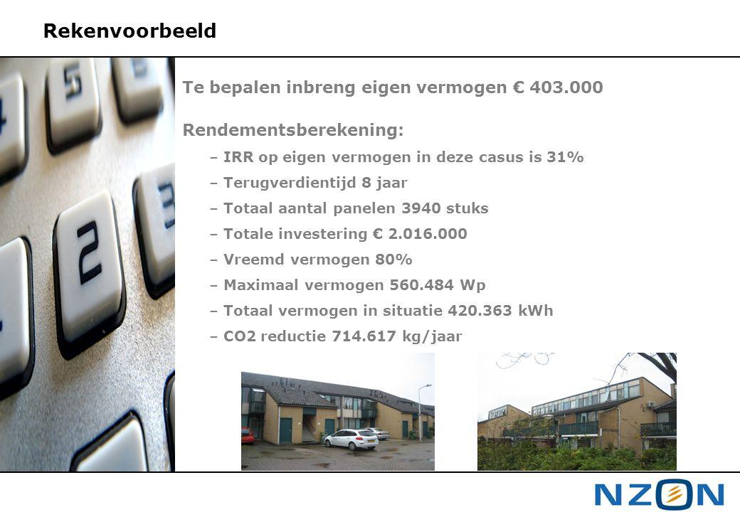 Rekenvoorbeeld Te bepalen inbreng eigen vermogen € 403.000