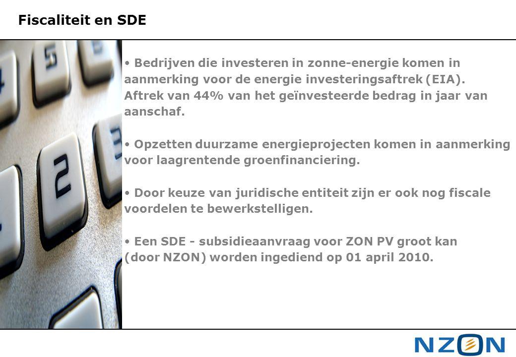 Fiscaliteit en SDE Bedrijven die investeren in zonne-energie komen in aanmerking voor de energie investeringsaftrek (EIA).
