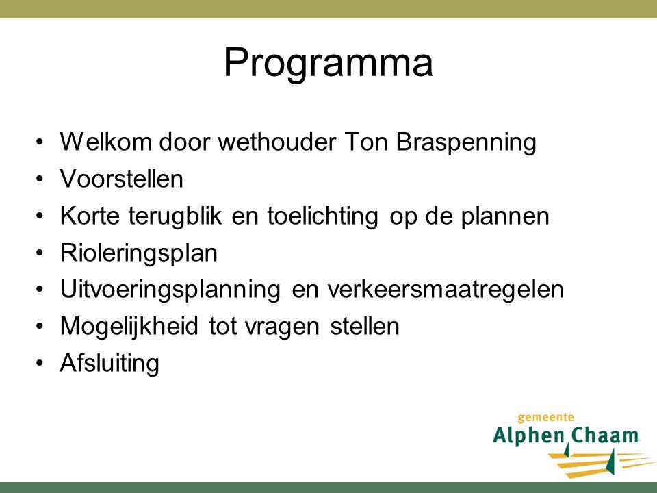 Programma Welkom door wethouder Ton Braspenning Voorstellen