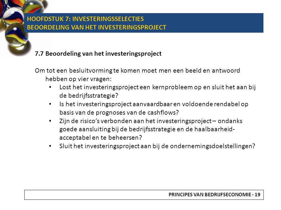 HOOFDSTUK 7: INVESTERINGSSELECTIES