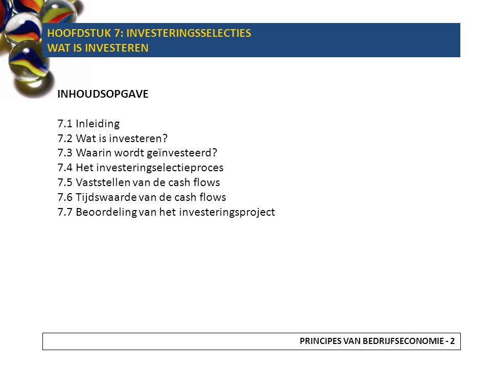 HOOFDSTUK 7: INVESTERINGSSELECTIES WAT IS INVESTEREN