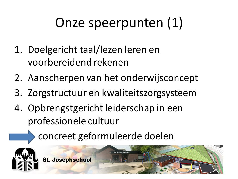 Onze speerpunten (1) Doelgericht taal/lezen leren en voorbereidend rekenen. Aanscherpen van het onderwijsconcept.
