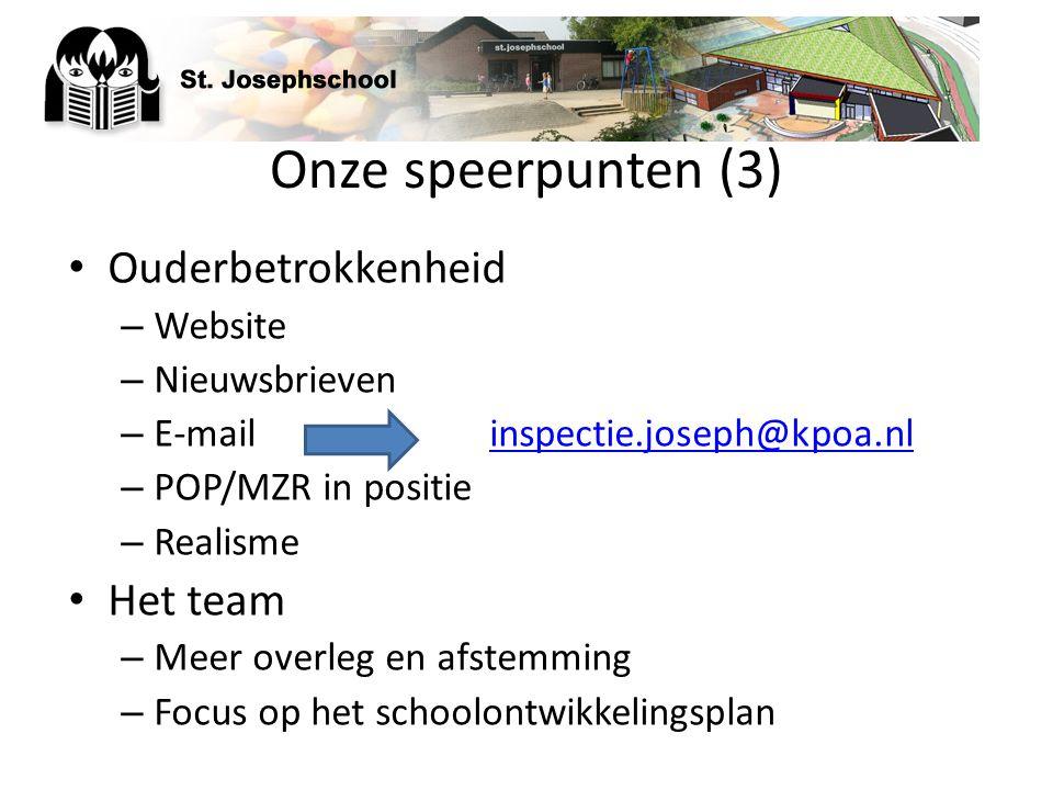 Onze speerpunten (3) Ouderbetrokkenheid Het team Website Nieuwsbrieven