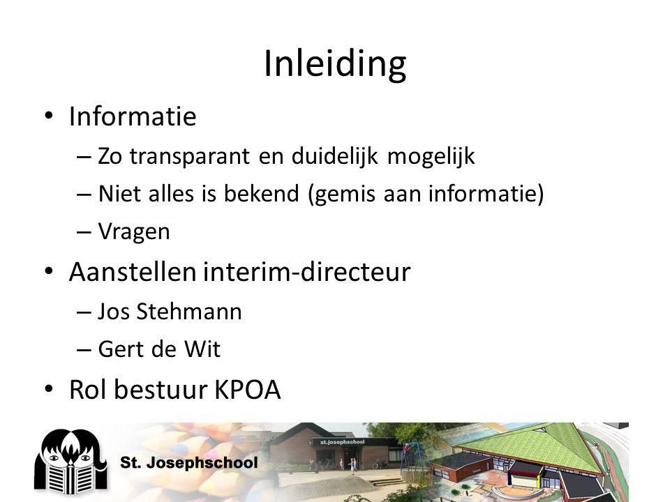 Inleiding Informatie Aanstellen interim-directeur Rol bestuur KPOA