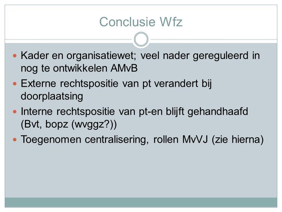 Conclusie Wfz Kader en organisatiewet; veel nader gereguleerd in nog te ontwikkelen AMvB. Externe rechtspositie van pt verandert bij doorplaatsing.