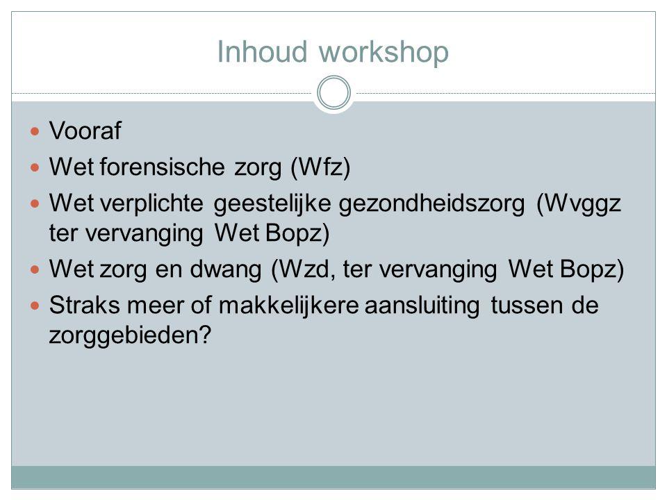 Inhoud workshop Vooraf Wet forensische zorg (Wfz)
