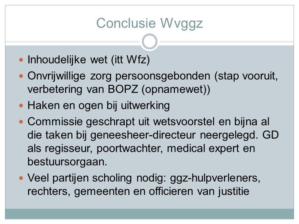 Conclusie Wvggz Inhoudelijke wet (itt Wfz)