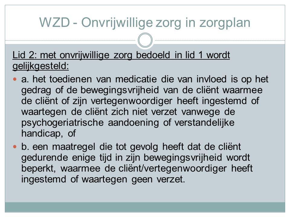 WZD - Onvrijwillige zorg in zorgplan
