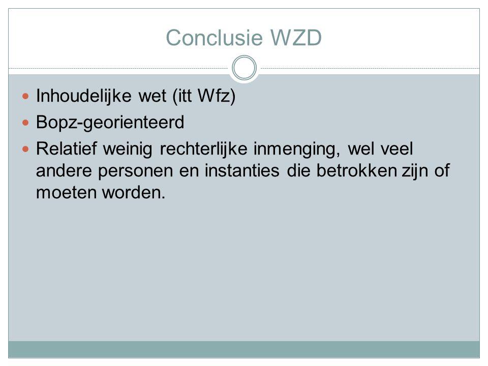 Conclusie WZD Inhoudelijke wet (itt Wfz) Bopz-georienteerd