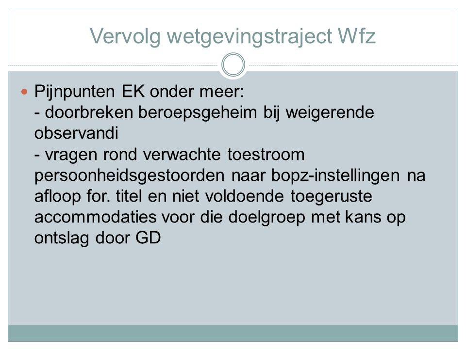 Vervolg wetgevingstraject Wfz