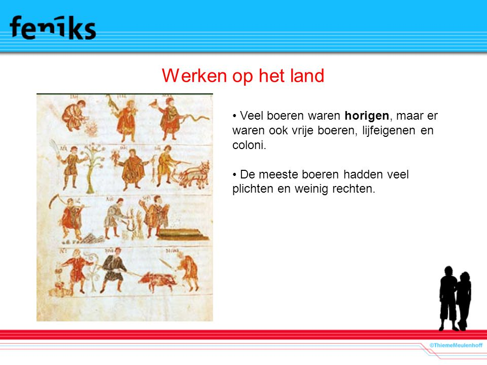 Werken op het land Veel boeren waren horigen, maar er waren ook vrije boeren, lijfeigenen en coloni.