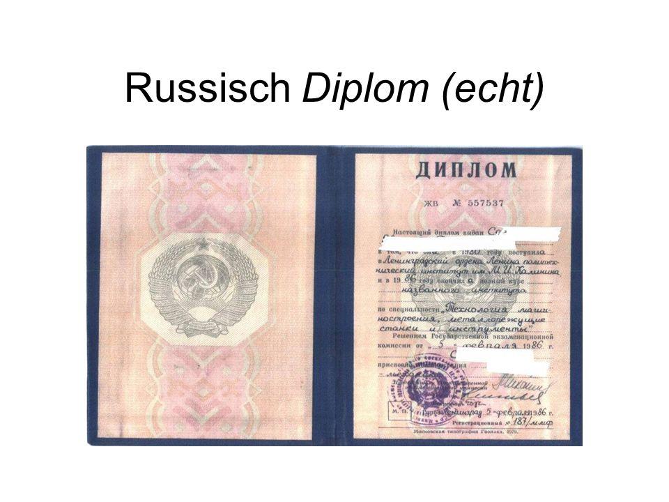 Russisch Diplom (echt)