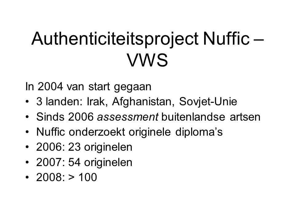 Authenticiteitsproject Nuffic – VWS