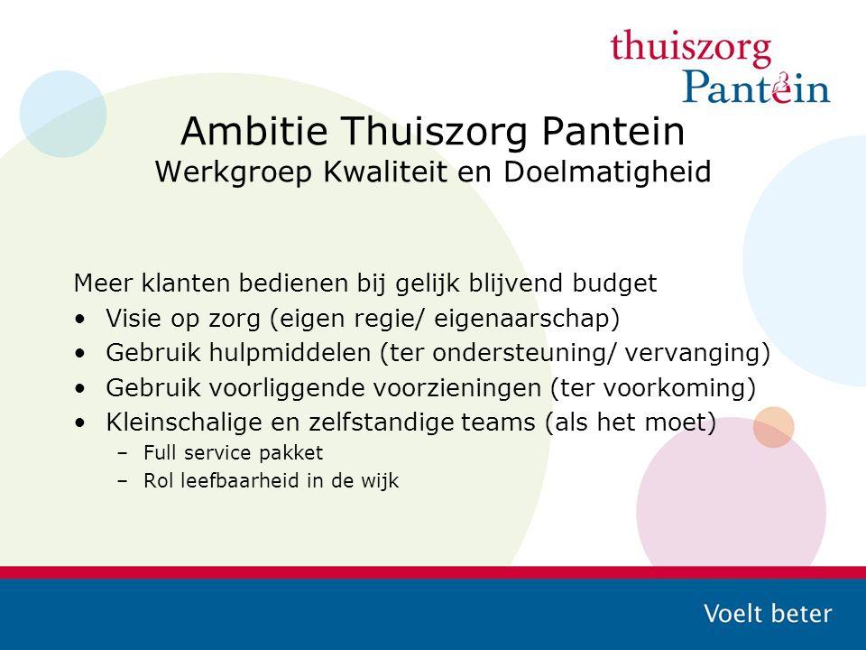 Ambitie Thuiszorg Pantein Werkgroep Kwaliteit en Doelmatigheid