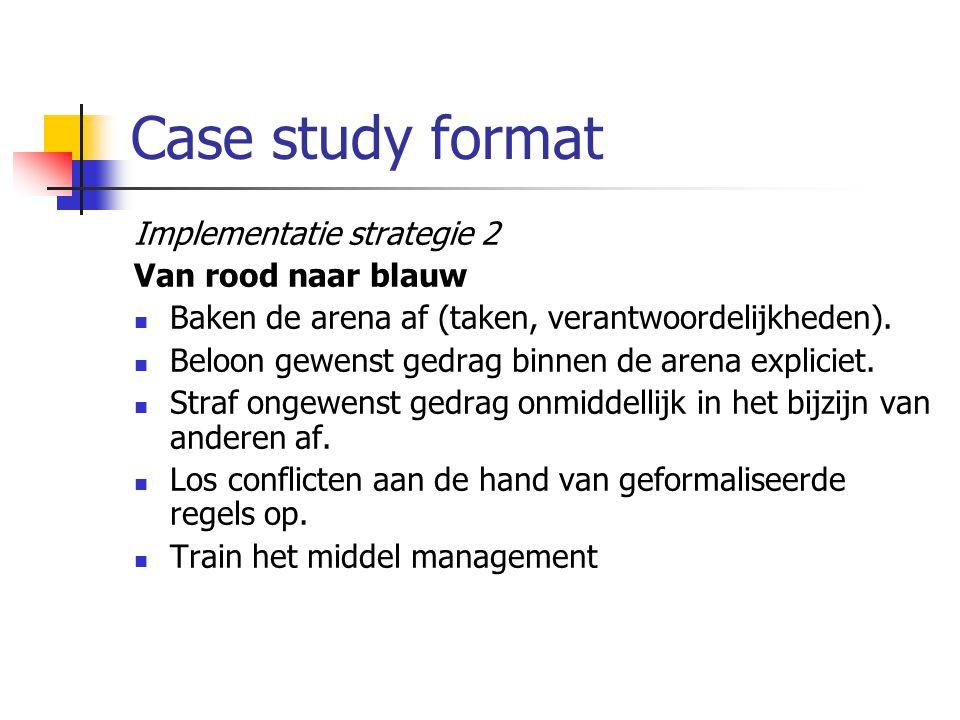 Case study format Implementatie strategie 2 Van rood naar blauw