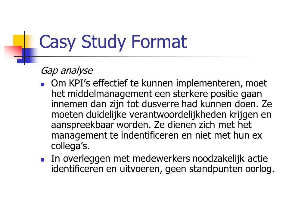 Casy Study Format Gap analyse