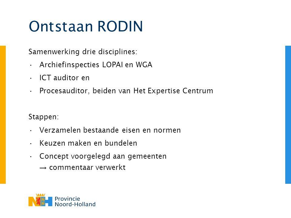 Ontstaan RODIN Samenwerking drie disciplines: