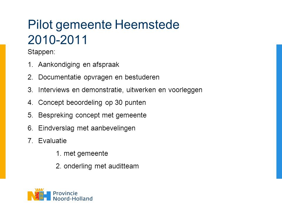 Pilot gemeente Heemstede 2010-2011