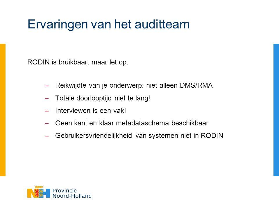 Ervaringen van het auditteam