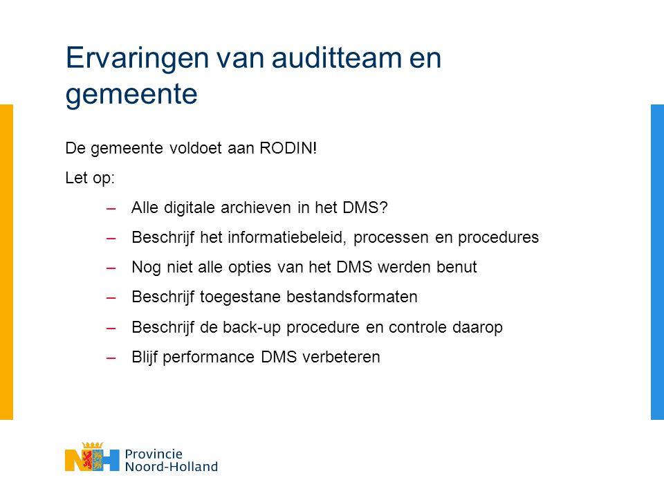 Ervaringen van auditteam en gemeente