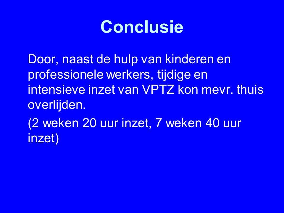 Conclusie Door, naast de hulp van kinderen en professionele werkers, tijdige en intensieve inzet van VPTZ kon mevr. thuis overlijden.